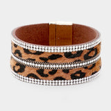 5Row Crystal Pave Embellished Leather Magnetic Closure Bracelet