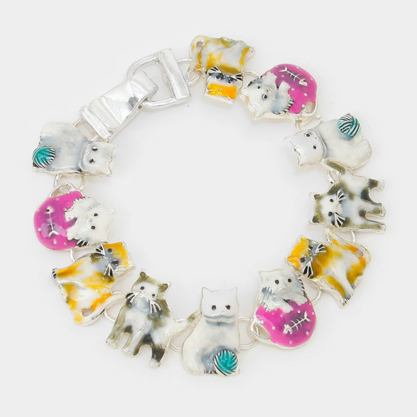 Kitty Cat Cat Lovers Magnetic Link Bracelet