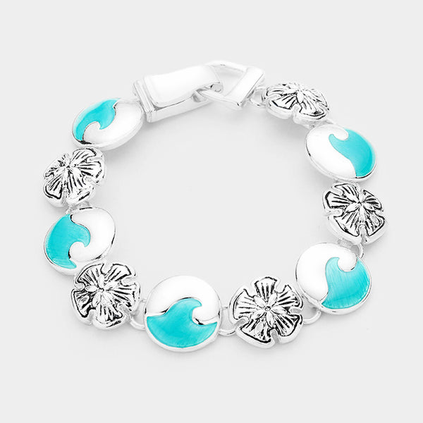 Sea Glass Metal Sand Dollar Link Magnetic Bracelet