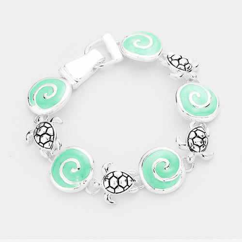 Sea Glass Swirl Wave Metal Turtle Link Magnetic Bracelet