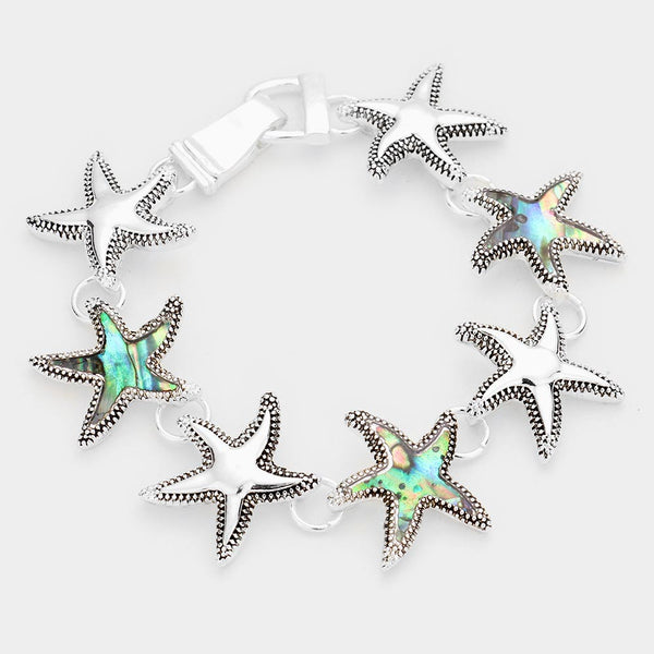 Abalone Accented Starfish Magnetic Link Bracelet