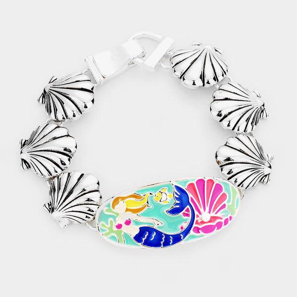 Enamel Mermaid Shell Metal Linked Magnetic Bracelet