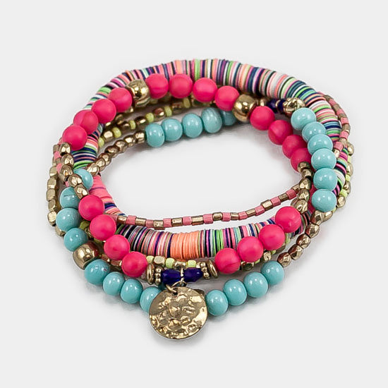 6 Layers Multi Beaded Disc Stretch Bracelet