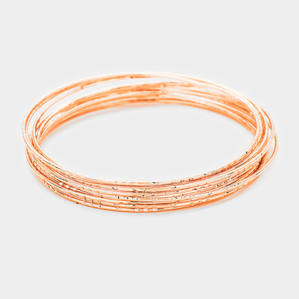 10pcs Textured Metal Bangle Bracelets