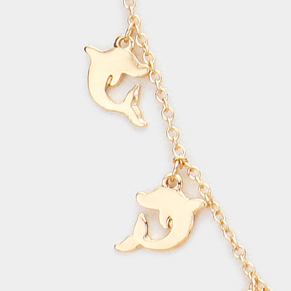 Multi Metal Dolphin Necklace