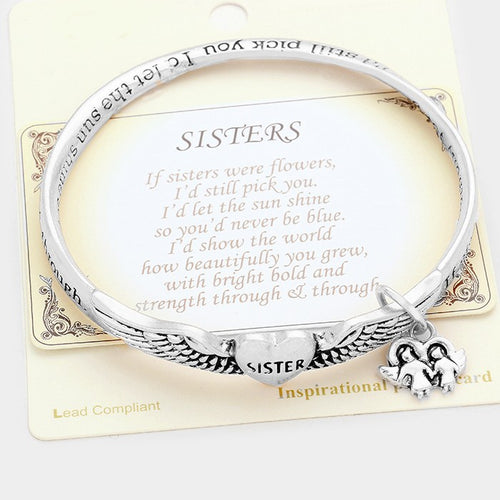 """If Sisters Were Flowers.."" Sisters Charm Heart Bracelet"