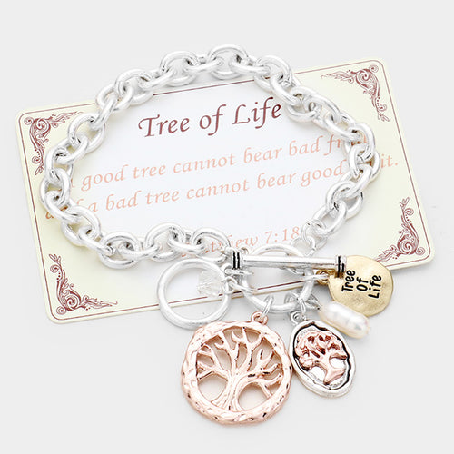 """Tree Of Life"" Pearl Charm Toggle Link Bracelet"