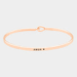 Amor Brass Thin Metal Hook Bracelet