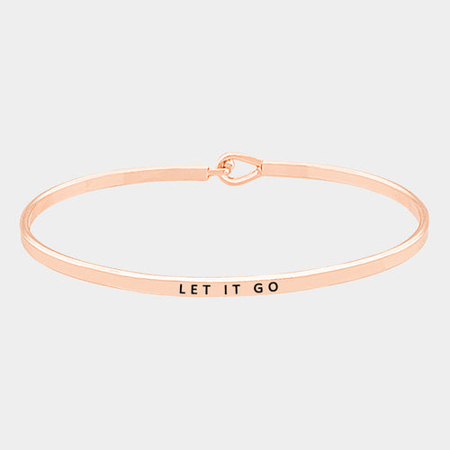 """Let It Go"" Thin Metal Hook Bracelet"
