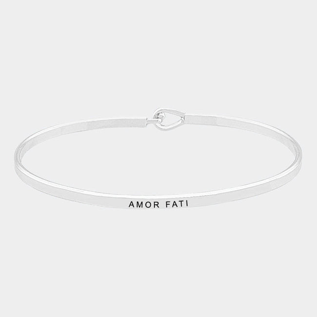 """Amor Fati"" Brass Thin Metal Hook Bracelet"