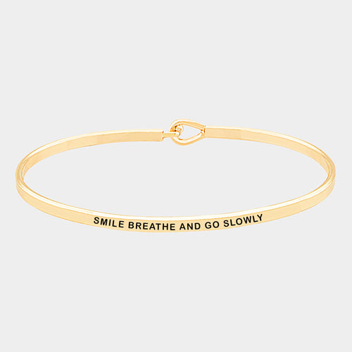 Smile Breathe Brass Thin Metal Hook Bracelet