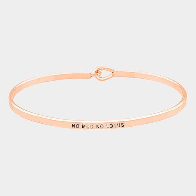No Mud,no Lotus Brass Thin Metal Hook Bracelet