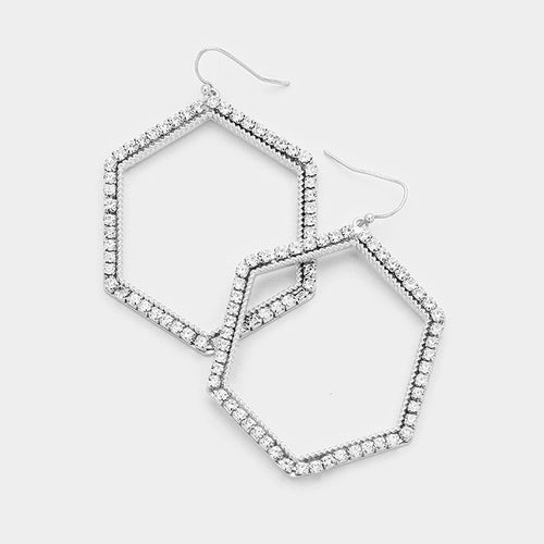 Stone Trimmed Hexagonal Hoop Dangle Earrings