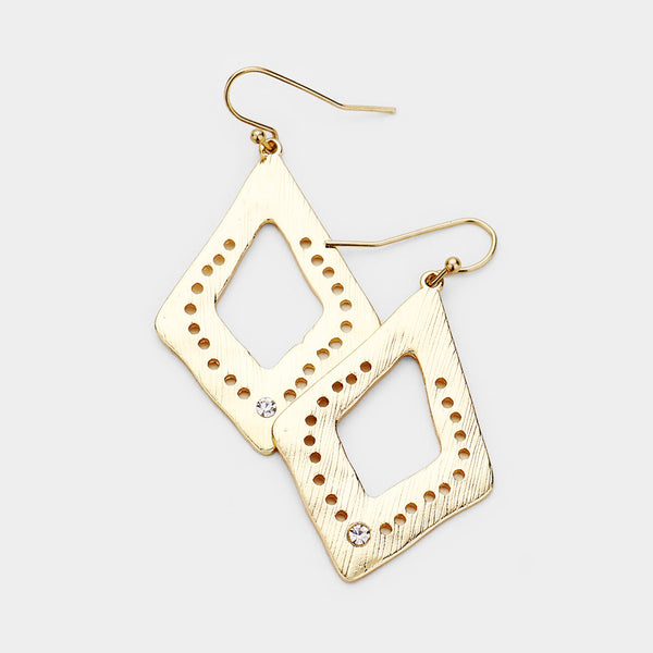 Punctured Diamond Shaped Dangle Earrings