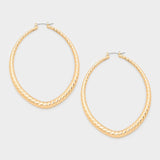 14 K Gold Filled Oval Metal Hoop Pin Catch Earrings