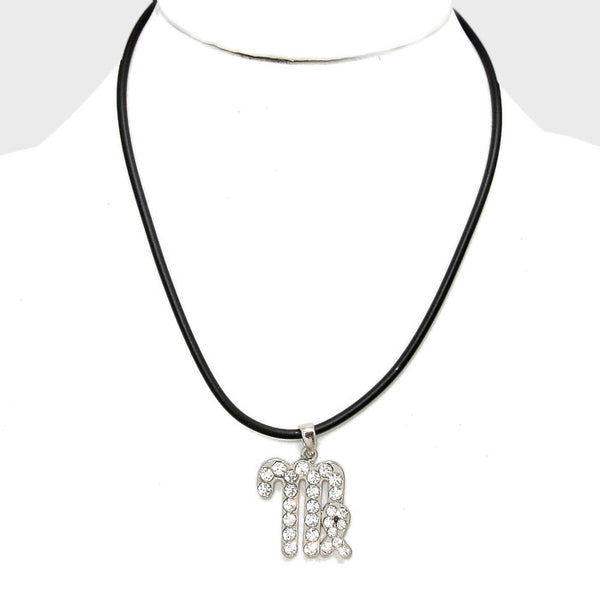 Virgo - Pave Zodiac Pendant Necklace