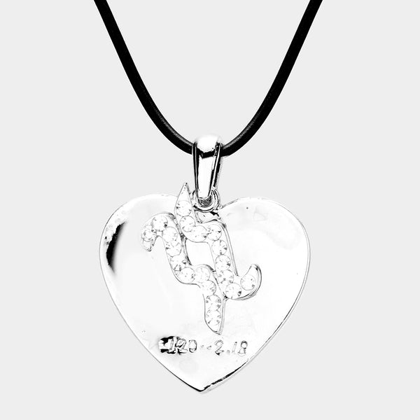 Aquarius - 2 Layers Zodiac Heart Pendant Necklace