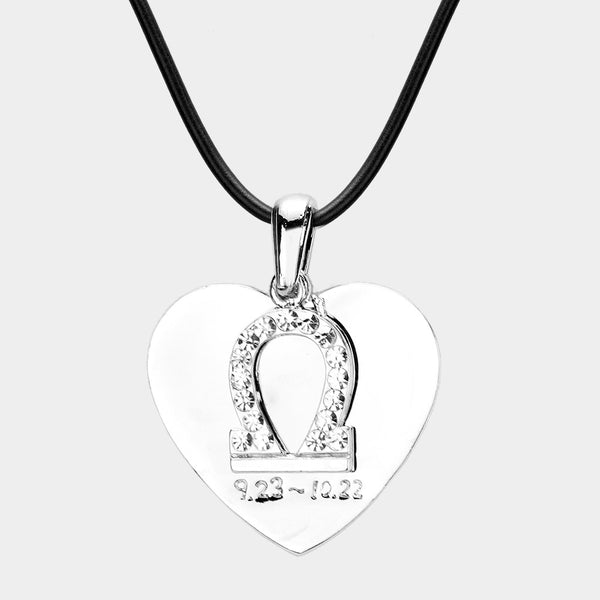 Libra - 2 Layers Zodiac Heart Pendant Necklace
