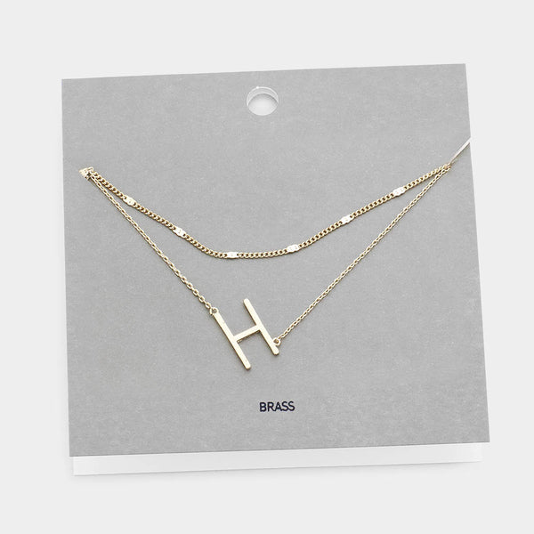 H Monogram Brass Metal Necklace