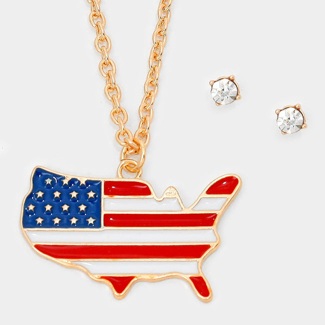 Enamel American Flag America Map Pendant Necklace