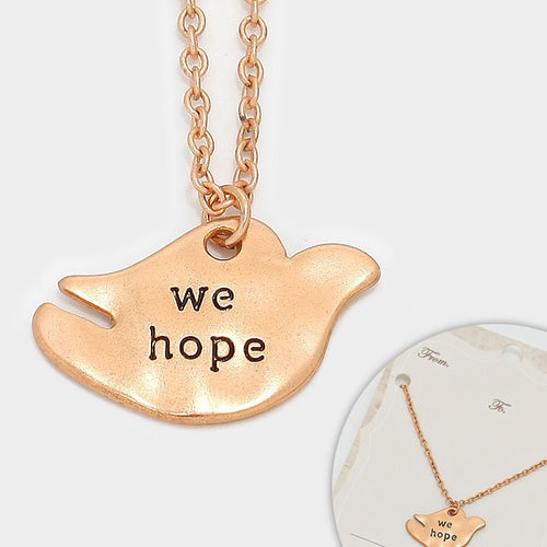 """We Hope"" Pigeon Pendant Necklace"