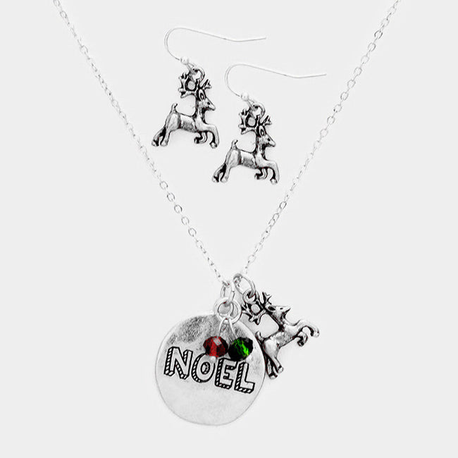 """Noel"" Metal Disc Pendant Rudolph Charm Necklace"