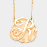 r Circle Script Monogram Pendant Necklace