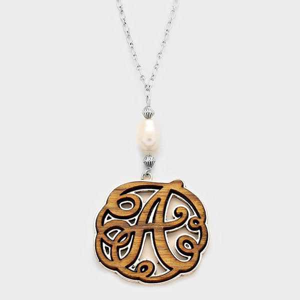 a Monogram Wooden Pendant Necklace