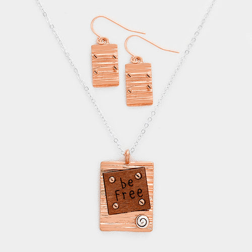 Be Free Wood Rectangular Metal Pendant Necklace