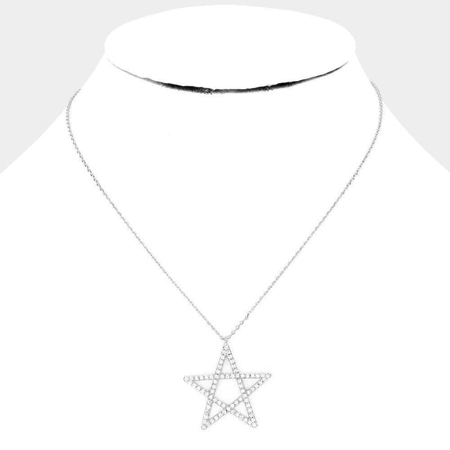White Gold Dipped Cz Pave Star Pendant Necklace