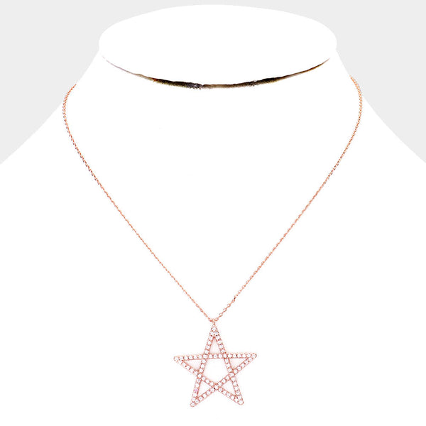 Gold Dipped Cz Pave Star Pendant Necklace
