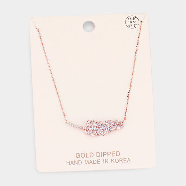 Gold Dipped Cz Pave Leaf Pendant Necklace