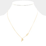 p Small Letter Monogram Pendant Necklace With Crystal