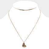 Antique Plated Heart Pendant Necklace