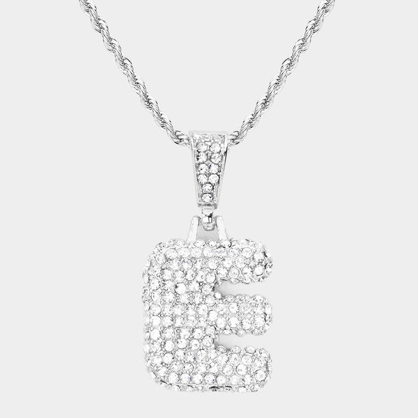 -e- Rhinestone Monogram Pendant Brass Chain Necklace