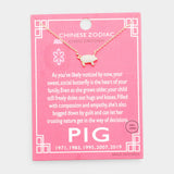 Chinese Zodiac Gold Dipped Cz Pig Pendant Necklace