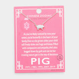 Chinese Zodiac White Gold Dipped Cz Pig Pendant Necklace
