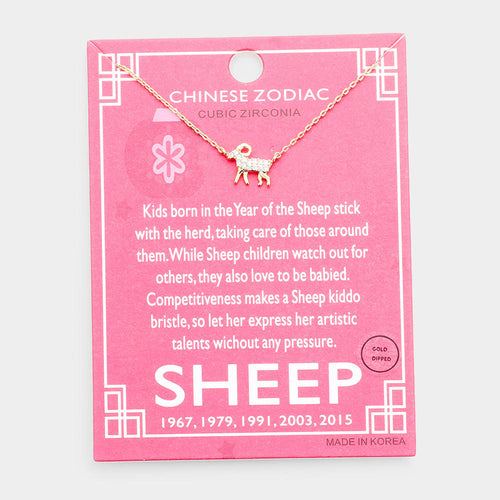 Chinese Zodiac Gold Dipped Cz Sheep Pendant Necklace