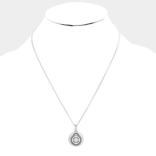 Engraved Life Preserver Metal Disc Pendant Necklace