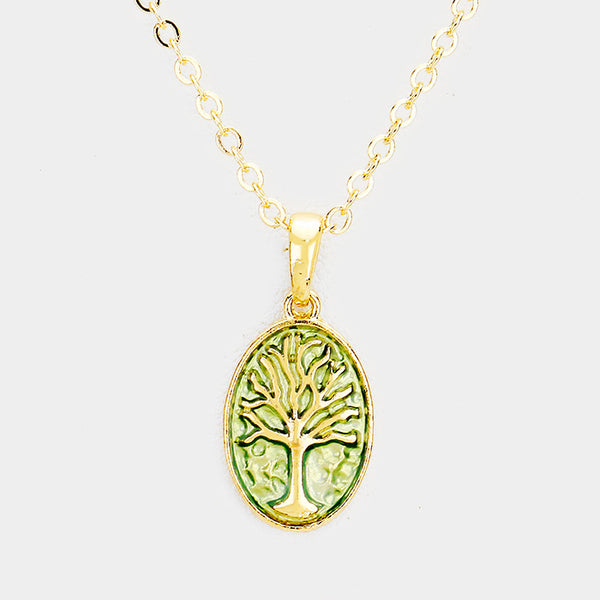 Tree Of Life Colored Metal Pendant Necklace