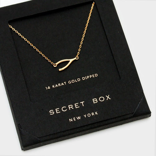 14 K Gold Dipped Wishbone Pendant Necklace With Secret Box