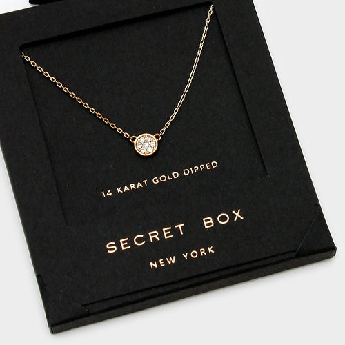 14 K Gold Dipped Crystal Pave Mini Pendant Necklace With Secret Box