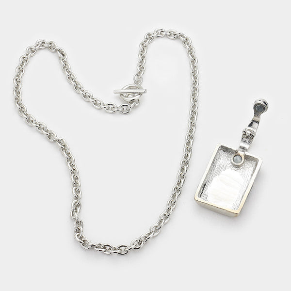 Detachable Lacquered Metal Whiskey Flask Pendant Toggle Necklace