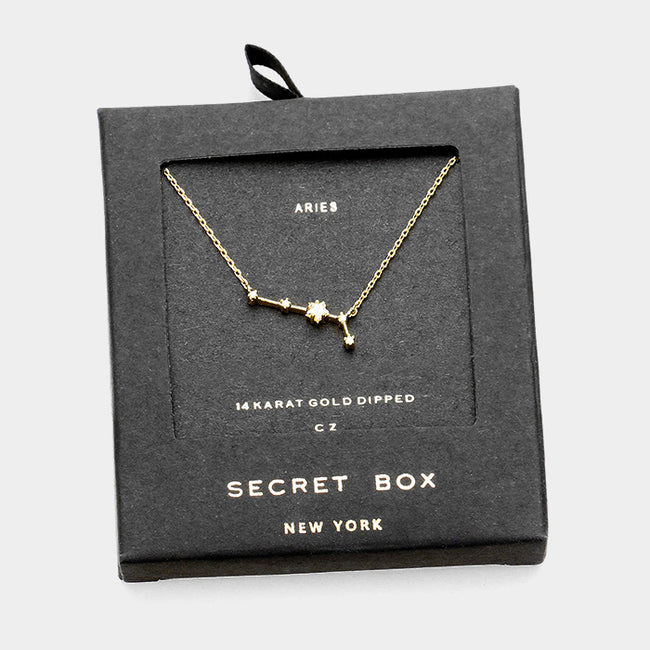 Secret Box _ Cz Zodiac Sign Aries Pendant Necklace