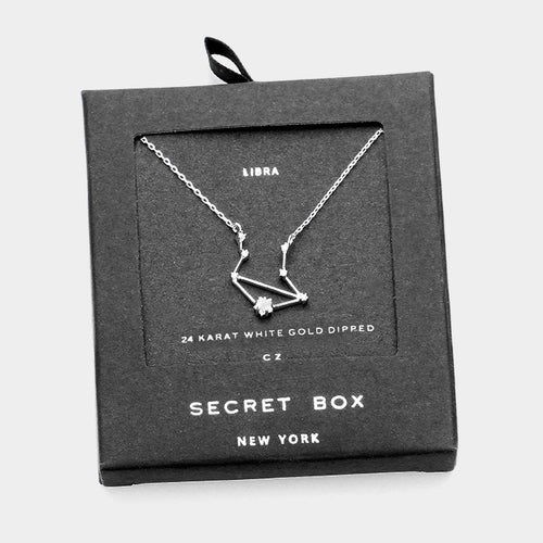 Secret Box _ Cz Zodiac Sign Libra Pendant Necklace