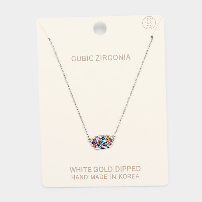 White Gold Dipped Colorful Cz Pave Pendant Necklace