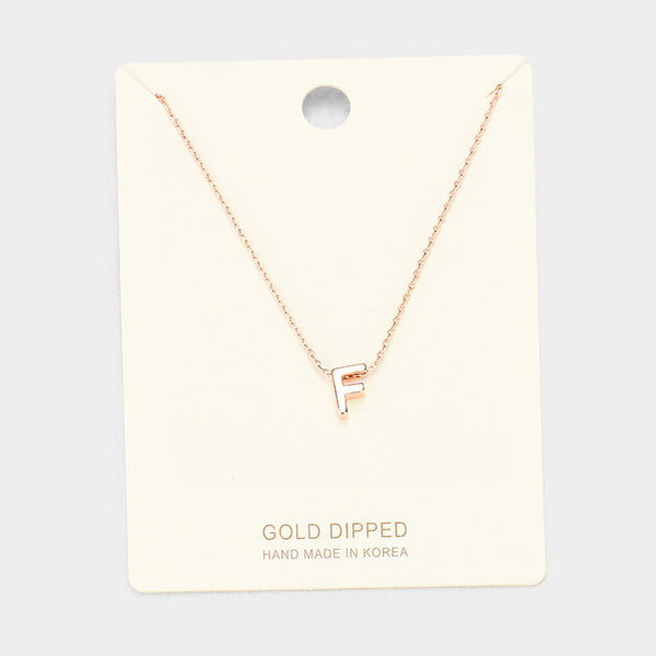 F Gold Dipped Metal Pendant Necklace