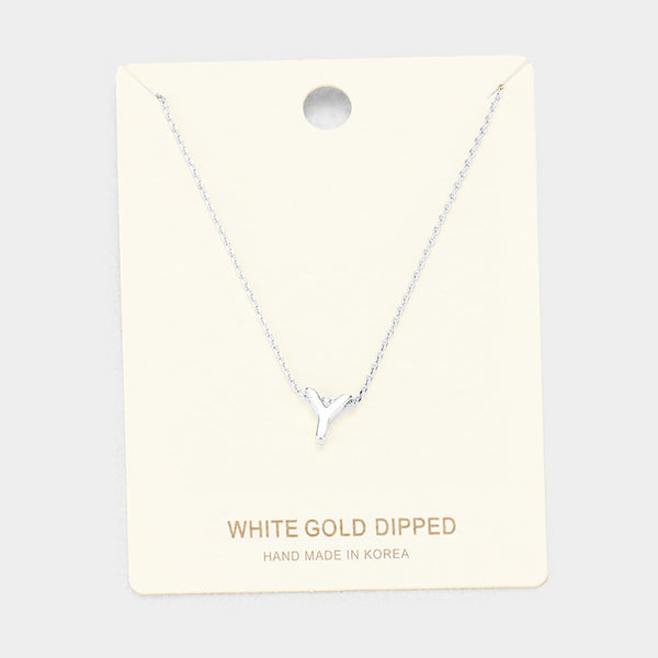 Y White Gold Dipped Metal Pendant Necklace