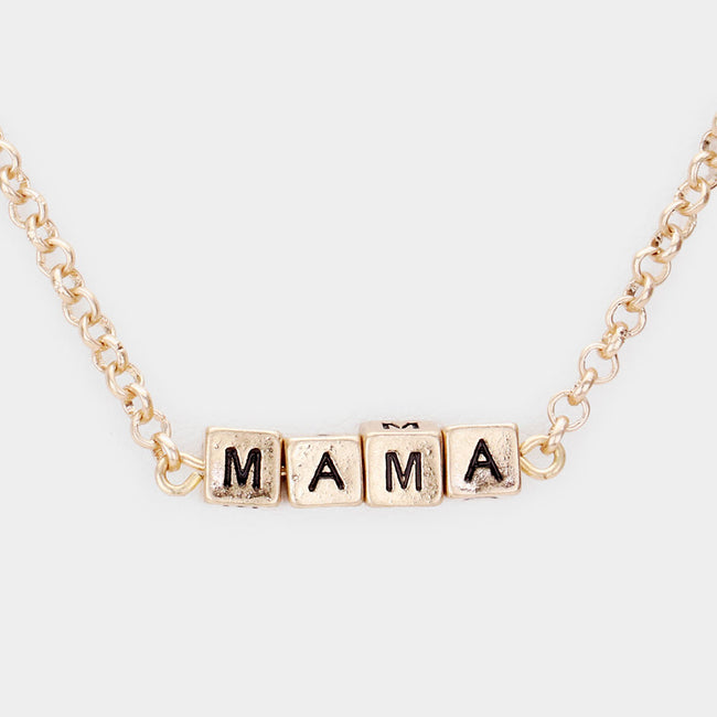 Mama Metal Cube Pendant Necklace