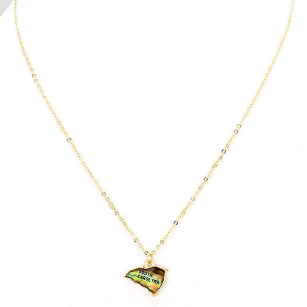 South Carolina Map Abalone Shell Pendant Necklace